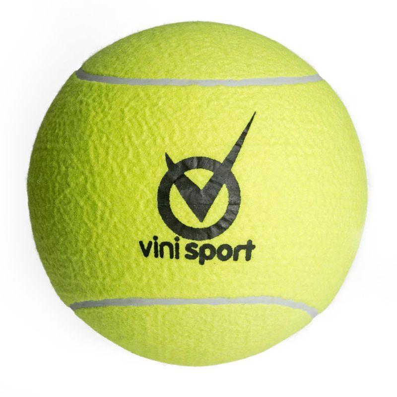 Kæmpe tennisbold. Skal pustes op. Diameter 30 cm. Kan  bruges i haven. Boldspil ved stranden eller på camping.  Udendørs leg med vennerne.