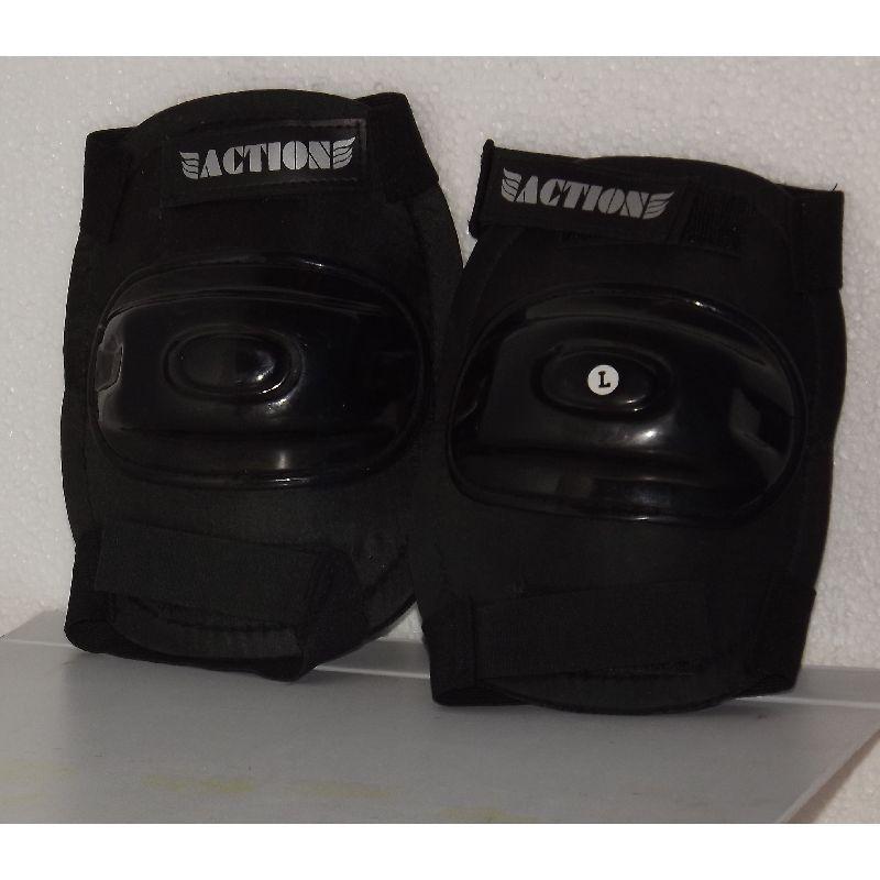 Beskytelse kan bruges både til albue og knæ, sort med  hvid tekst