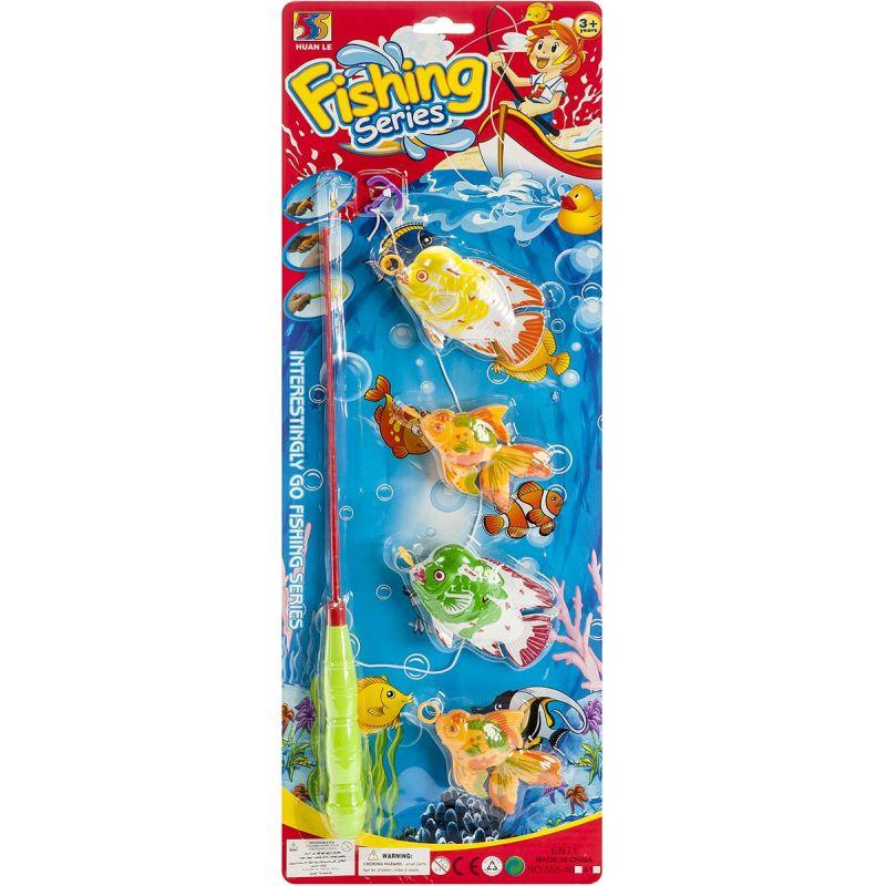Fang fiskene med den 35 cm lange fiskestang. Sættet er  lavet i plastik og malet i flotte farver.