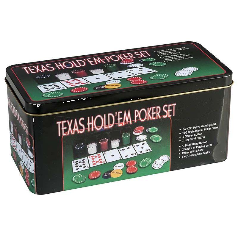 Texas Hold´em Poker sæt er opbevaret i en flot metalæske.  Spil mange timers poker med dine venner. Nem  instruktionsvejledning.