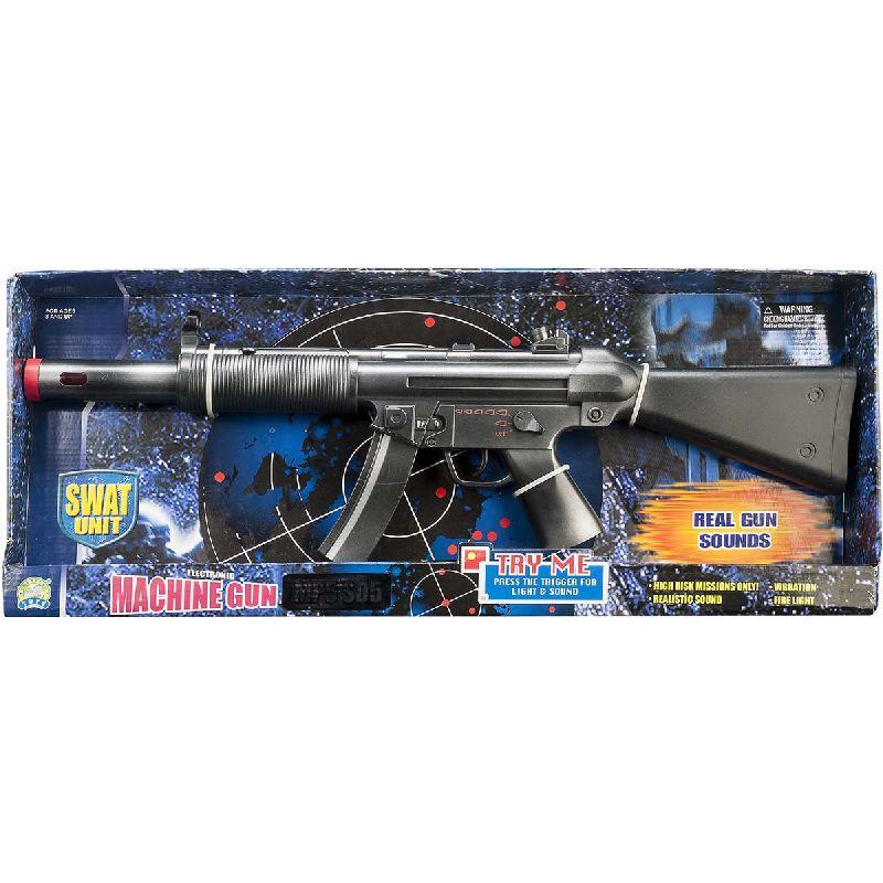 En go maskinpistol der kan bruges b�de hvis man skal v�re  soldat/milit�r eller politi. Bruger 3xAA batterier der er  inkl.