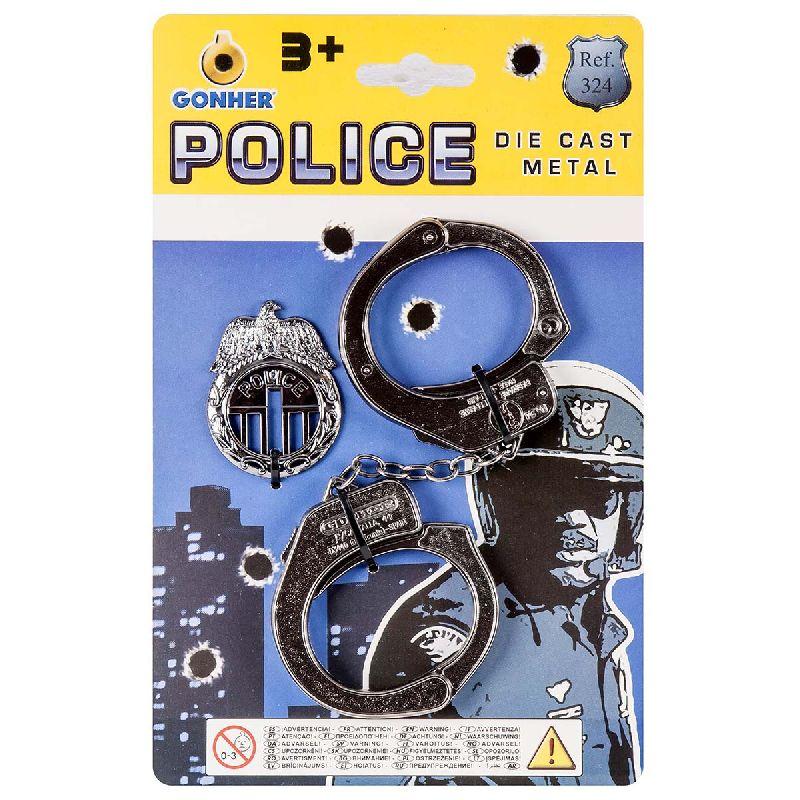 H�ndjern i matal og et politi skilt, det vil lige v�re  det der s�tte prikket over iet i din udkl�dning som  betjent/politi