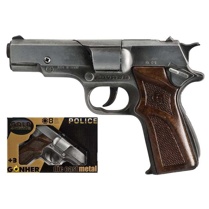 Pistol til 8 skud. Politi pistol med brunt skaft. Ligner  en rigtig pistol .Den er lavet i metal. Kan bruges til  leg inde og ude i haven.