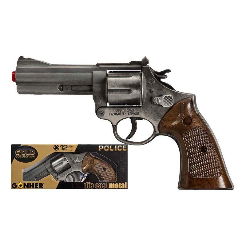 Pistol til 12 skud. Politipistol i metal. Kan bruges til  leg inde og ude.Leg politi og r�vere med vennerne.