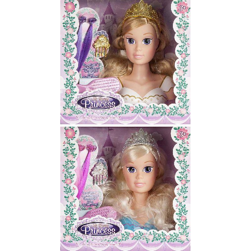 Lav nye frisurer p� det flotte prinsesse fris�rhoved. Pynt med h�rextensions p� utallige m�der. �v dig i at flette h�r.
