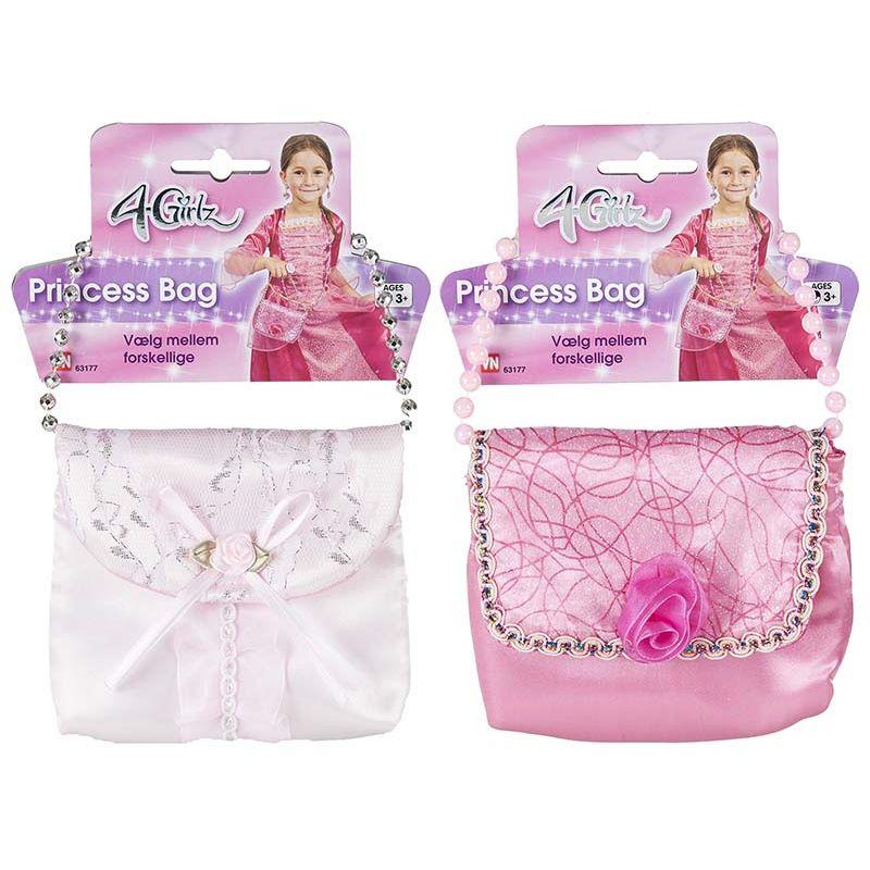 Prinsessetaske f�es i to farver lyser�d og hvid,taske til  n�r du skal i byen