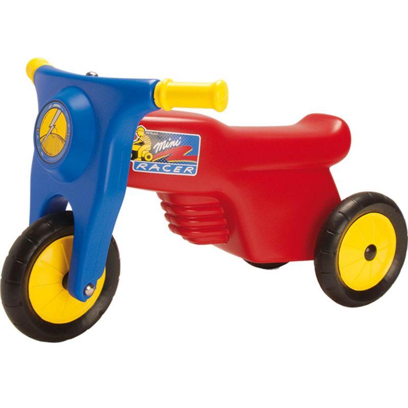 Scooter med gummihjul. 1 forhjul og 2 baghjul. R�d og bl� med  gule farver. Mini racer til b�rn. Kan bruges til at k�rer p�.  P� vejen, gaden eller p� camping.