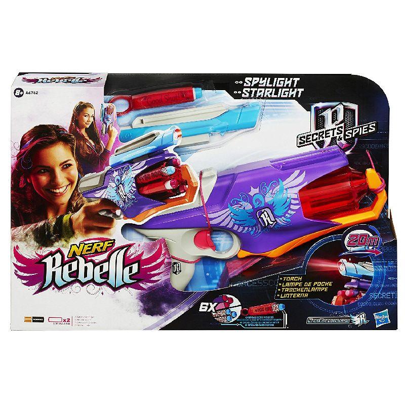 Nerf skyder med 6 patroner. Pistolen er i flotte lilla  farver velegnet til pige. Laser lys . Kan skyde op til 20  meter. Kan bruges til leg. Patroner i bl�d skum.
