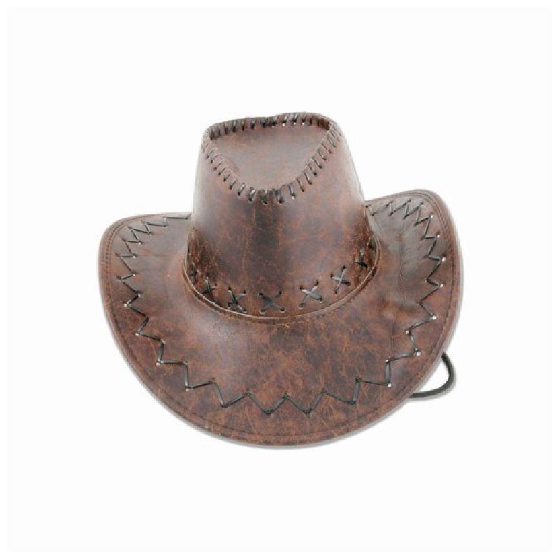 En god cowboy hat i l�derlook hvis du skal til western fest eller skal du bare lege cowboy er denne hat lige dig.