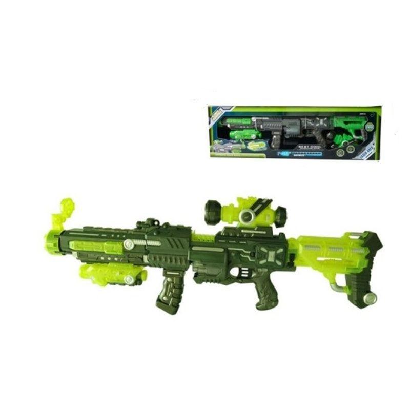 Soft bullet er elektisk gun, hvor der kan v�re 20 skud i. Der  er kikkert med til og der lys i den ogs�. Soft bullet gun er  perfekt til krigerne.