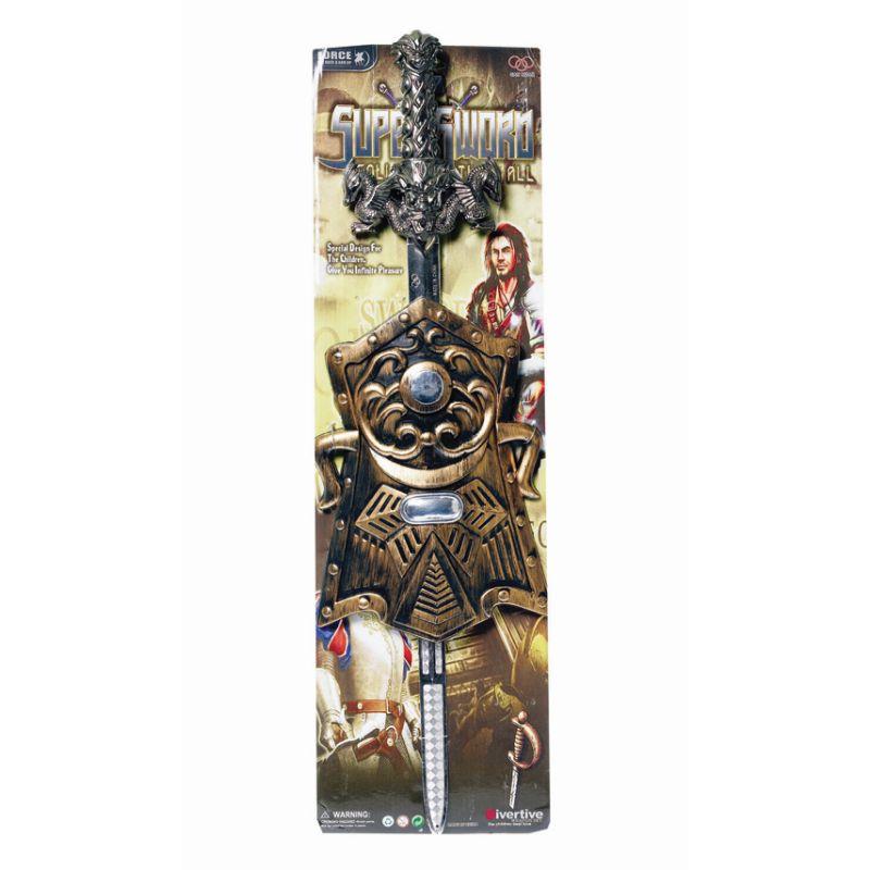 sv�rd med skjold. Kan bruges til udkl�dning som pirat.  K�mpe som dragej�ger imod ildsprydende drager. Ridder p�  sin hest. Flot dekoreret sv�rd med dragehoveder p�  h�nstaget.