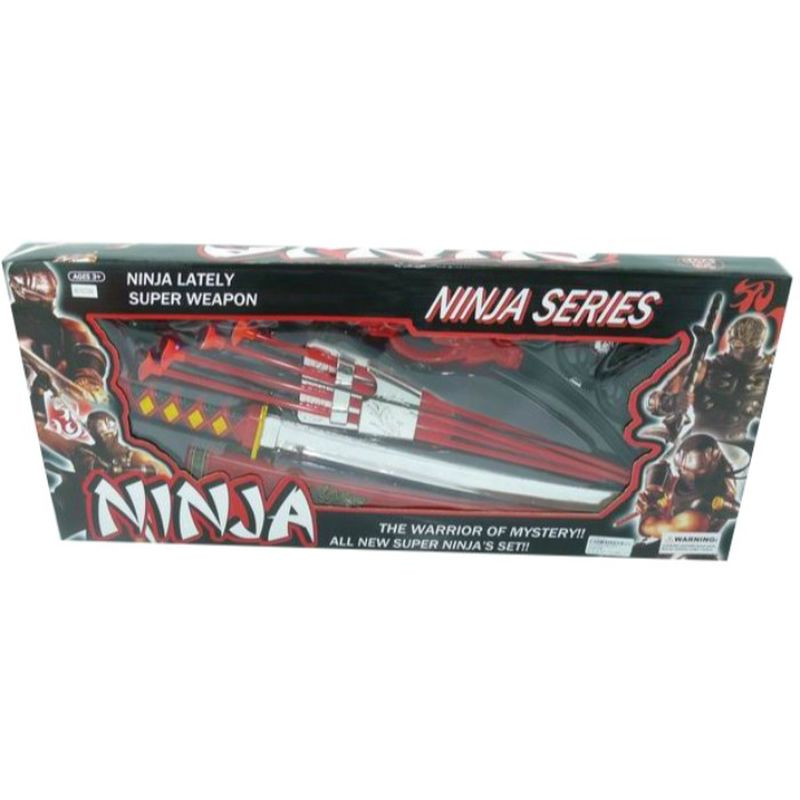 Ninjaer har altid masser af v�ben, b�de sv�r,  kasternestjerner  , bue m.m.<br>
