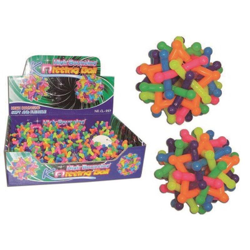 Hoppebold i mange farver i et sjovt m�nster. Ca. 6 cm i  diameter