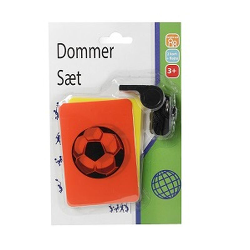 Dommersæt kan bruges til fodbold og andre udendørsleg.  Dommerfløjte kan bruges til at fløjte for straffe. Man  kan give rødt eller gult kort.Fløjte for frispark