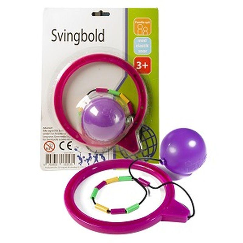 Svingbold kan bruges udenfor på fortorvet eller  fliser.Man skal have bolden i sving og hoppe over  den.Ring om benet med 1 bold i elastik.