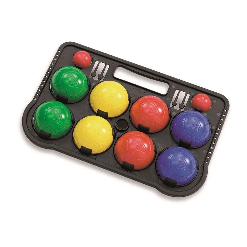Udendørsspil med 8 bolde og 2 små bolde. Petanque spil i  plastik. Med 8 bolde i 4 farver, 2 af hver. Den lille  bold kaldes GRISEN. Mange timers leg i haven eller ved  stranden. Nemt at tage med på camping og udflugt.