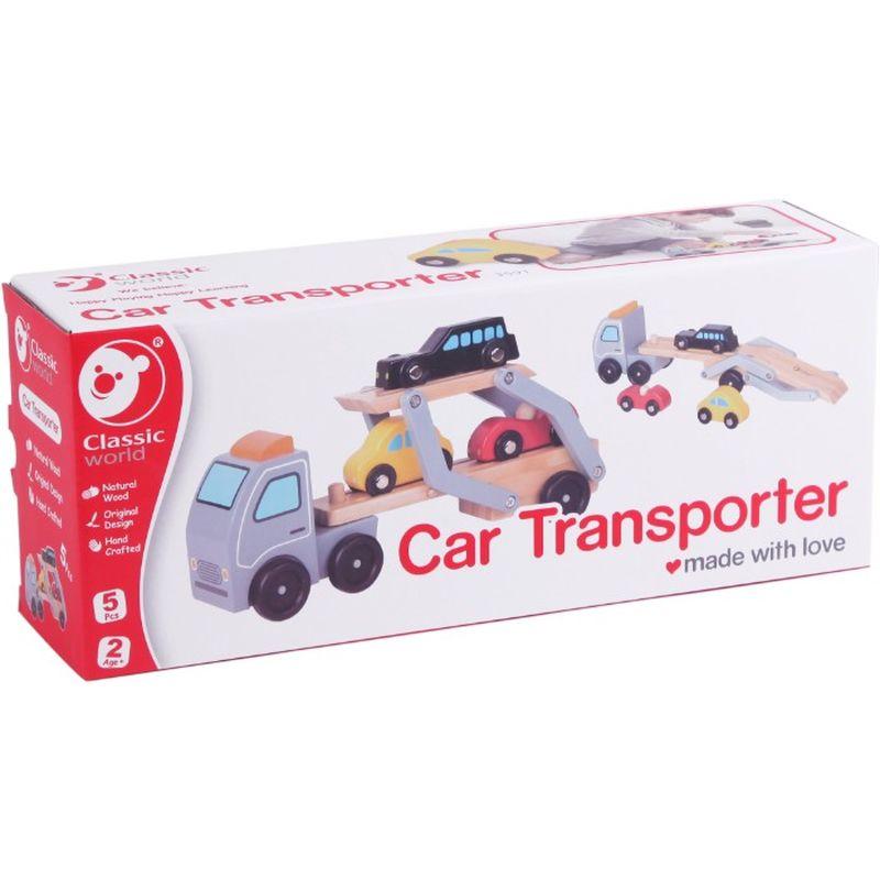 Bil transport er i noget godt træt med nogle varme farver. Man  kan have 3 biler med på bil transporten og den kan løftes op.