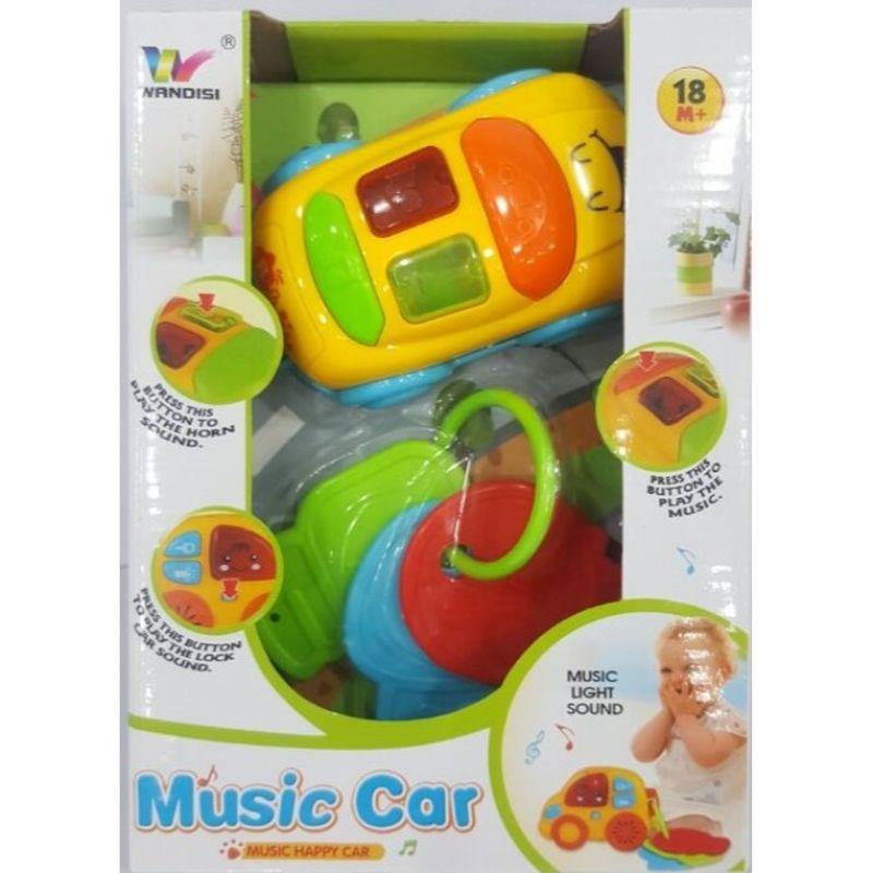 Fin lille bil med nøgler musik,lys og lyde  et hit til de små som kan underholdes og være optaget af lydene lys og musik