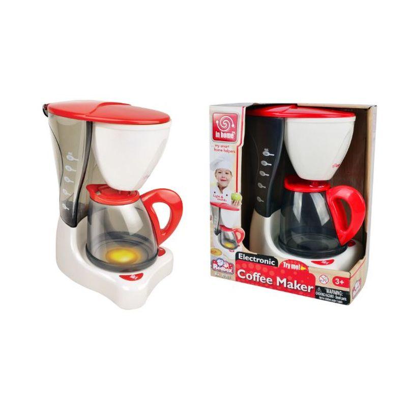 Fin lille kaffemaskine egnet til når du vil invitere forældrene på kaffe i din lille hule. <br> En dejlig kop hjemmelavet kaffe brygget på din helt egen kaffemaskine i dit legehus eller lege køkken med hele familien samlet.<br>Fyld vand på og se vandet rotere rundt som på en rigtig kaffemaskine.