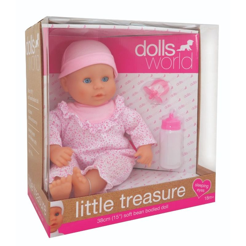 En sød dukke med blød krop. Dukken har sødt lyserød dukke tøj.  I pakke er der sut og en sutteflaske.