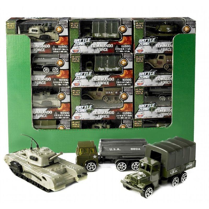 Militære køretøjer i plast og metal  mange forskellige varianter til sjov leg  tanks, lastvogne, tankvogne og gummigeder der alle kan bruges  til at kæmpe et brag af en krig