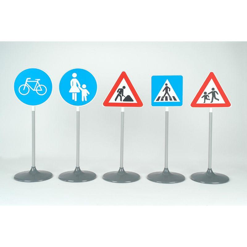 Store trafikskilte til udendørs brug. Skilte med trafik  tegn. Kan bruges til at øve trafikken. Skiltene kan  samles og skilles ad. Cykelsti, vejarbejde, forgængerfelt  o.s.v.