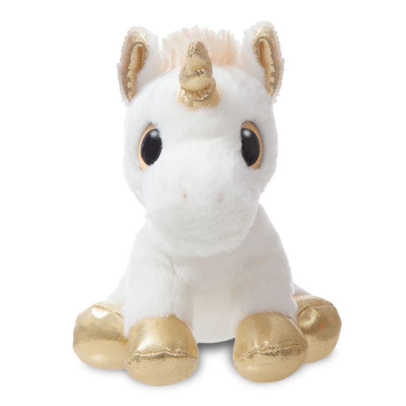Sød lille hvid kramme dyr som følger dig overalt er med guld fødder,horn,øjne, en rigtig dejlig lille krammere