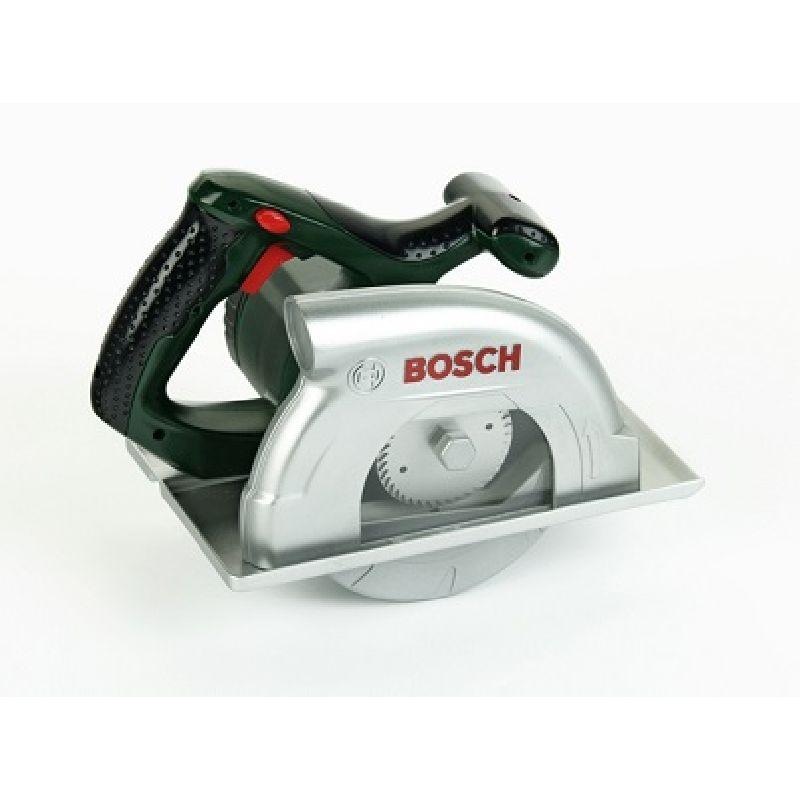 Rundsav til børn . Sav i plastik fra Bosch. Lav lyd som en  rigtig sav. Bruger batterier.Kan bruges til at lege tømre .  Hjælpe far med brædderne.