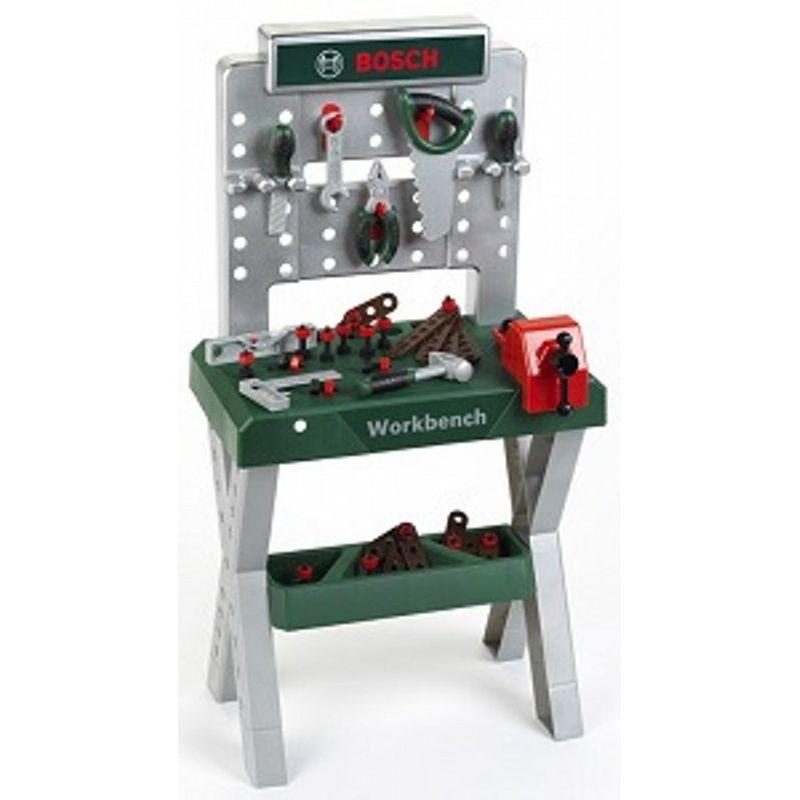 Bosch mini arbejdsbænk er til børn der gerne vil arbejde med  værktøj og kan lide at bruge det. Der er et bord og der kan  være en hylde under den og på bordet er der en plade, hvor man  kan hænge sit værktøj på