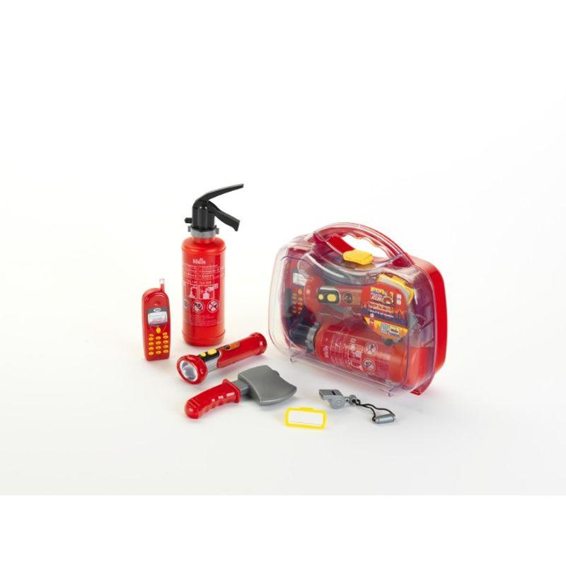 Brandmands s�t er i en god plaste opbevaring kasse.Det hele er  god r�d farve. I brandmands s�tte er der b�de mobil, pulver  slukker og lommelygte. En god s�t til dem der kan lide at v�re  brandmand.