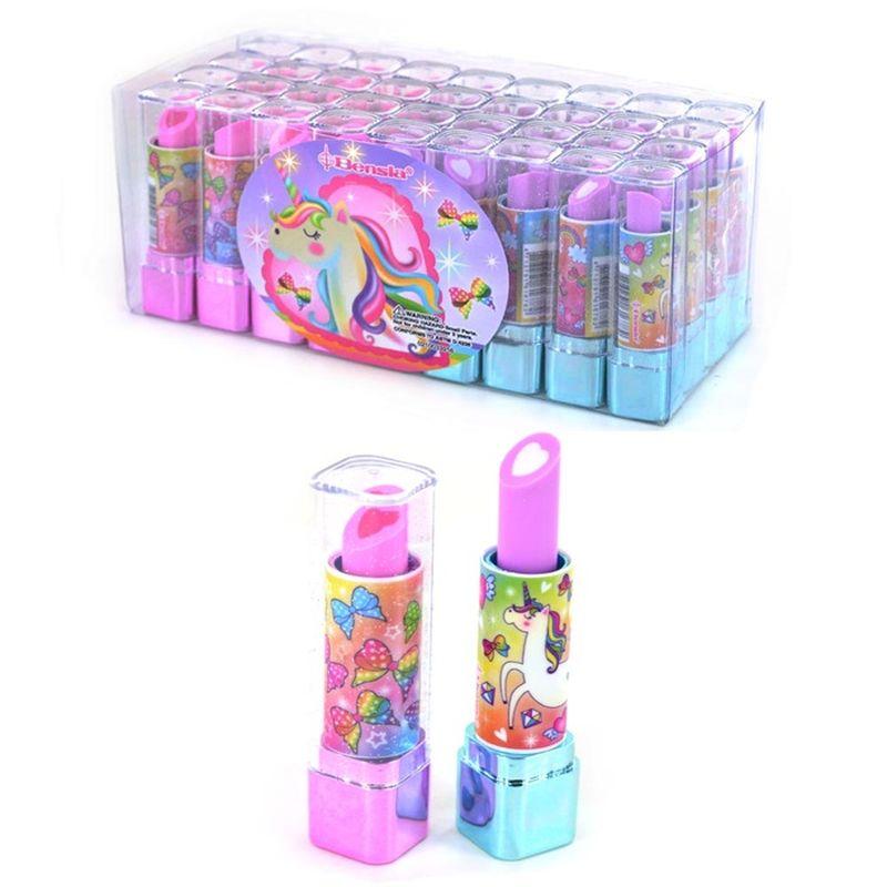 viskelæder med duft forklædt som læbestift kan rulles op som en rigtig læbestift og bruges gentagne  gange  til at viske ud med.
