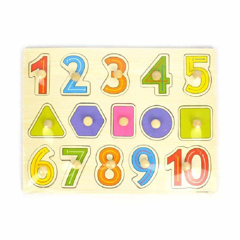 Tr�puslespil med tal. Tal fra 1- 10 i forskellige farver.  Figur som firkant, cirkel og trekant. Brikker med  tr�knob.Kan se hvordan tallene skrives