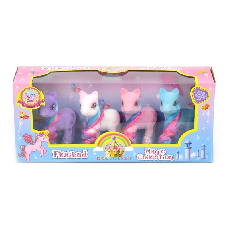 4 søde ponyer lige til at lege med. Forskelige farver.der  er bøste med