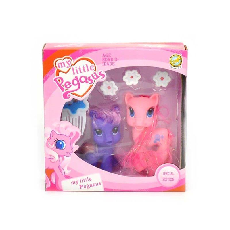 Pony sæt er der to søde ponyer med i nogle søde farver. I  ponyer sæt er der forskellig genstande der man kan bruge på  at  pynte sin pony med. Den store pony som er i mørk lyserød er  10  cm høj: Den lille pony som er lyserød er 8 cm høj.