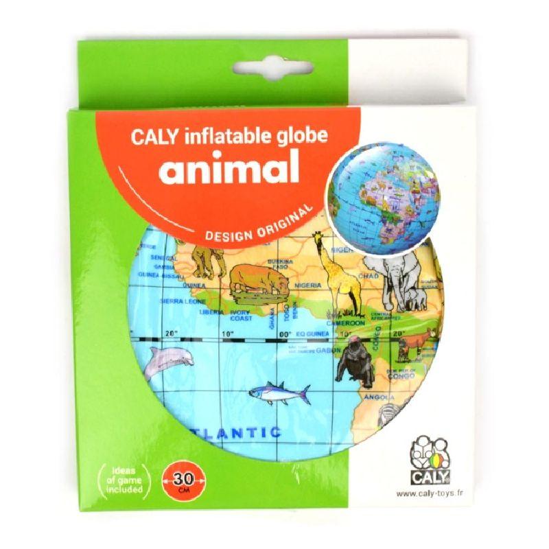 Pust globussen op og se hvor dyrene bor. Globussen kan  bruges til at spille bold. Kast eller tril til hinanden.