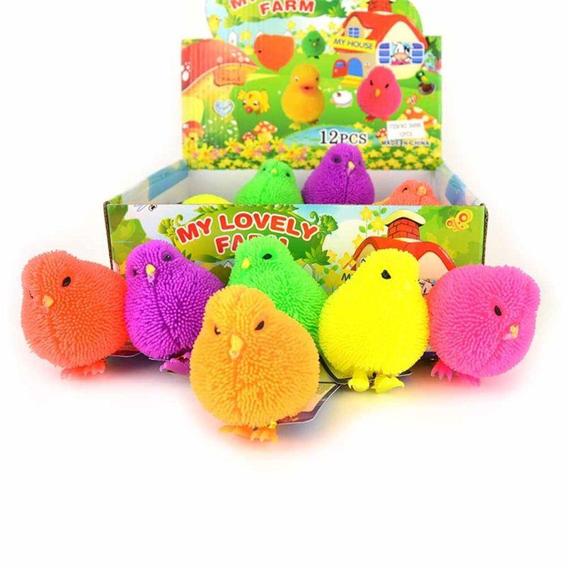 Kylling i bl�d gummi. Kan bruges til at sidde og trykke  p�. Dejlig bl�d . Kan f�es i mange forskellige farver.  Ved bestilling skriv gerne farve i kommentarfelt