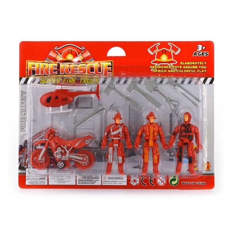 1 stk. brandfolk sæt. Der er 3 brandmænd og nogle forskellig  genstand i pakken. Brandsætte er til god leg og man kan lege  som, hvis man ville være brandmand.