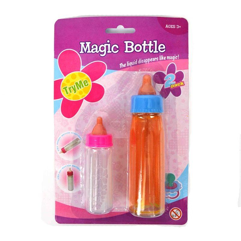Må dine dukker skal havde mad og drikke, er her 2  sutteflasker, 1 med mælk og 1 med juice.<br> Funktion så det ser ud som om der bliver drukket.