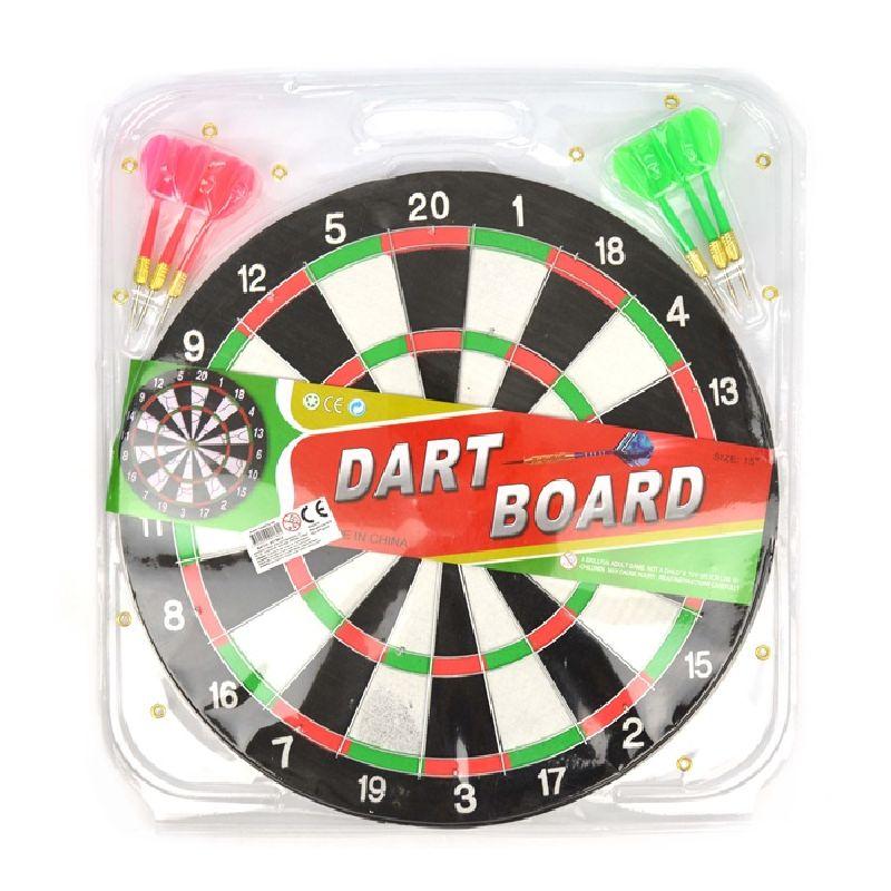 Dartskive med 6 pile. 2 forskellige farve pile. Kan  bruges til at spille sammen med vennerne. Se hvem der får  flest point og vinder.