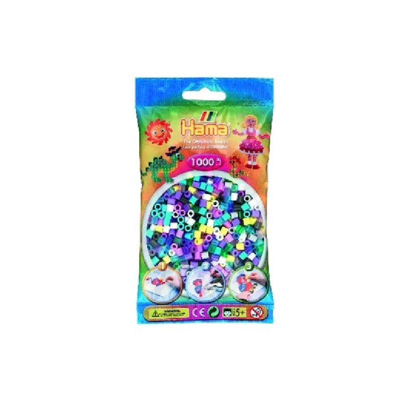 Pose med blandet perler i perstel farver.<br> Husk at alle farverne i Hama midi perler passer samle