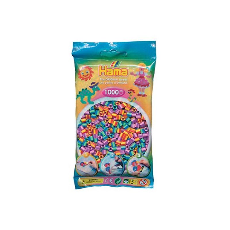 De stribet perler passe samle med alle de andre farver i  Hama midi perler.<br> Man kan lave mange sjove motiver med Hama midi perler.