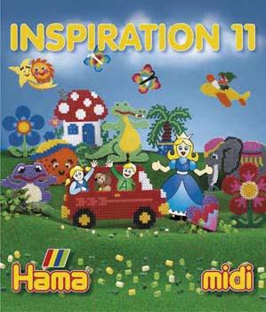 I inspirationsh�fte nr. 11 kan du f� nye ideer til  motiver med Hama� midi perler f.eks. jul, p�ske, dyr,  safari, bamser og prinsesser.