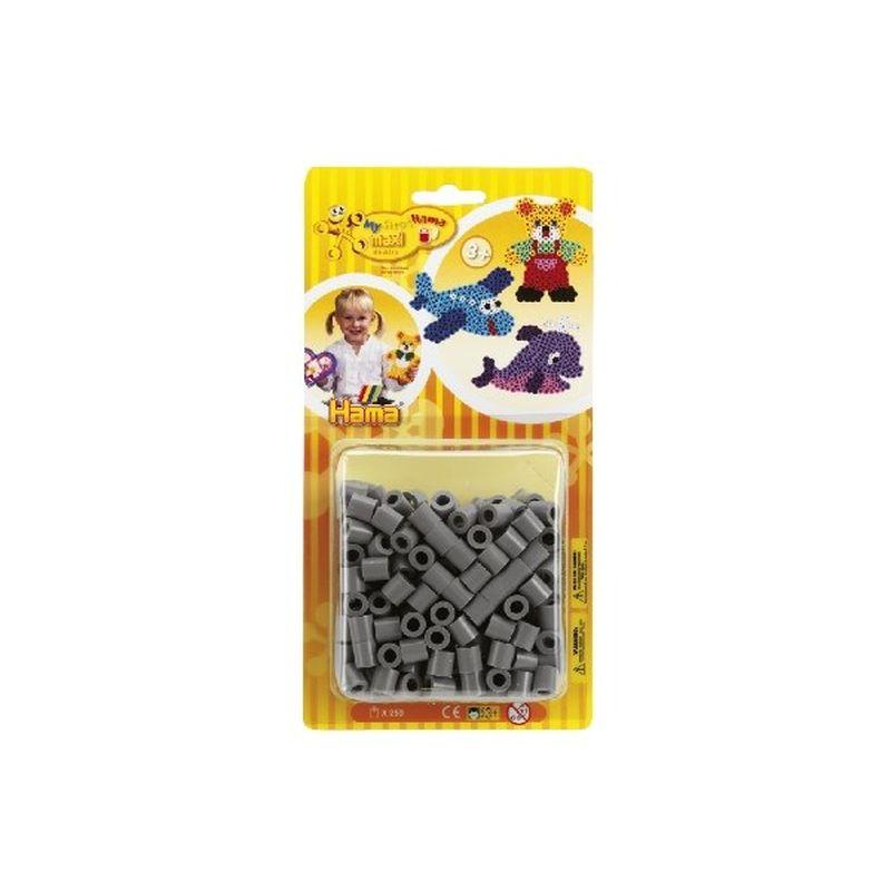 Hama perler i maxi. Gr� Maxi perler. 1 �ske med 250 stk.  Kan bruges til maxi plader.