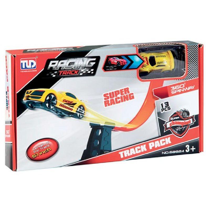 Bilbane med 1 bil. Banen er en rampe til flyvhop og  stunt. Nem at samle og adskille. Bilen findes kun i rød. Til leg på værelset eller stuen.