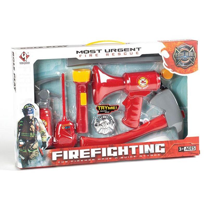 Brandmand sæt med økse,horn,lommelygte og andre små forskellige dele følger med til dette søde brandmands sæt så du kan rigtig lege brandmand