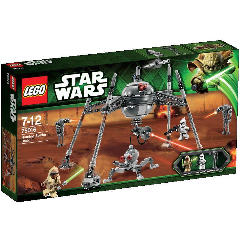 Under det store slag p� Geonosis� opdager jedi-mesteren Stass Allie og en Clone Trooper� en farlig LEGO� Star Wars� Homing Spider Droid� i det fjerne. Nedk�mp droiden, f�r den angriber med leddelte ben, roterende hoved, underkanon, der kan h�ves, og topmonteret knipsemissil! K�mp derefter mod to Super Battle Droids�! Fire minifigurer med v�ben: Stass Allie, klonkriger og to superkampdroider.